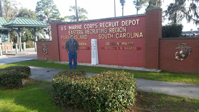 Dean at the entrance of the  Marine Corps base where he underwent basic training in 1968-1969